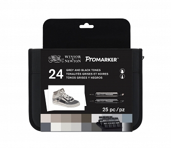 Zestaw Promarker 24 kolory Black and Grey  Wallet Set, Winsor&Newton